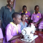 sewing at Kakunyu School, Uganda